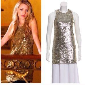 Tory Burch Gold Sequin mini dress L